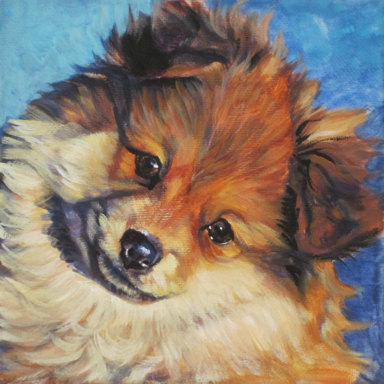 Drawn German Spitz dog wallpaper