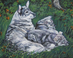 Нарисованная собака емтхунд с щенятами