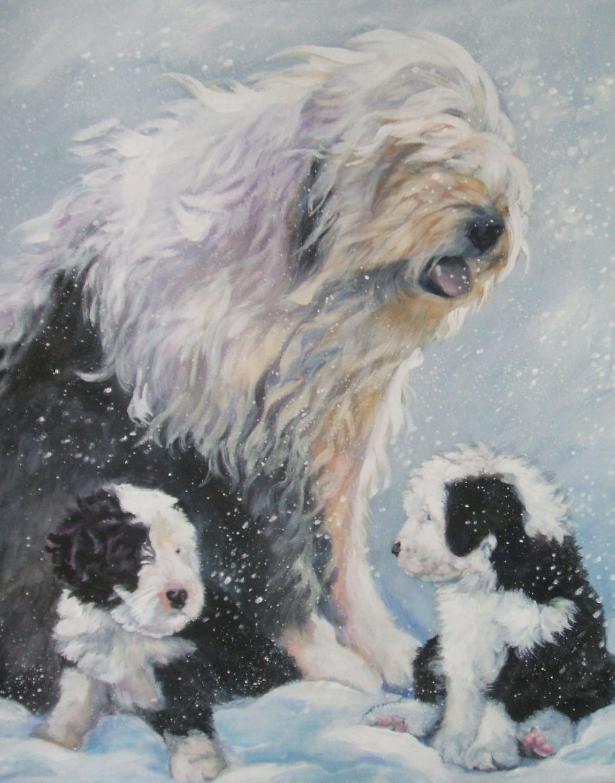 Нарисованный бобтейл с щенками фото
