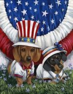Independence Day Dachshund dogs