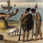 Kurī dog and two Māori chiefs